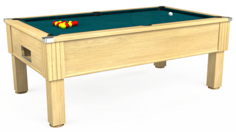 7ft Emirates Free Play in Light Oak with Hainsworth Elite-Pro Petrol Blue cloth