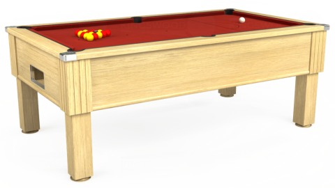 7ft Emirates Free Play in Light Oak with Hainsworth Elite-Pro Red cloth