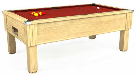 7ft Emirates Free Play in Light Oak with Hainsworth Smart Cherry cloth