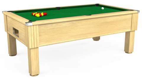 7ft Emirates Free Play in Light Oak with Hainsworth Smart Olive cloth