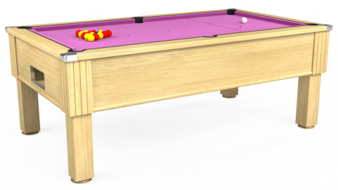 7ft Emirates Free Play in Light Oak with Hainsworth Smart Pink cloth