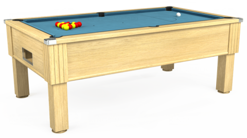 7ft Emirates Free Play in Light Oak with Hainsworth Smart Powder Blue cloth