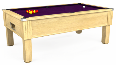 7ft Emirates Free Play in Light Oak with Hainsworth Smart Purple cloth