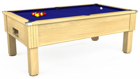 7ft Emirates Free Play in Light Oak with Hainsworth Smart Royal Blue cloth