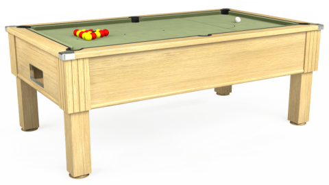 7ft Emirates Free Play in Light Oak with Hainsworth Smart Sage cloth