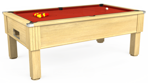 7ft Emirates Free Play in Light Oak with Hainsworth Smart Windsor Red cloth
