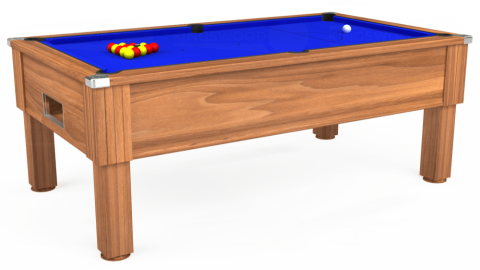 7ft Emirates Free Play in Light Walnut with Standard Blue cloth