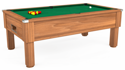 7ft Emirates Free Play in Light Walnut with Hainsworth Elite-Pro American Green cloth