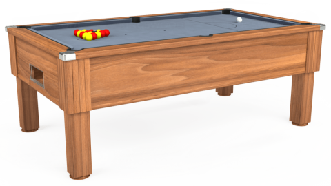 7ft Emirates Free Play in Light Walnut with Hainsworth Elite-Pro Bankers Grey cloth