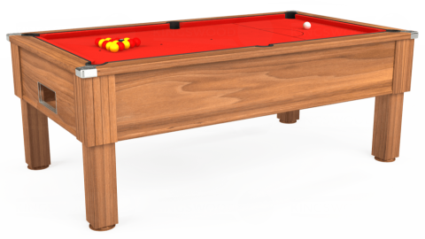 7ft Emirates Free Play in Light Walnut with Hainsworth Elite-Pro Bright Red cloth