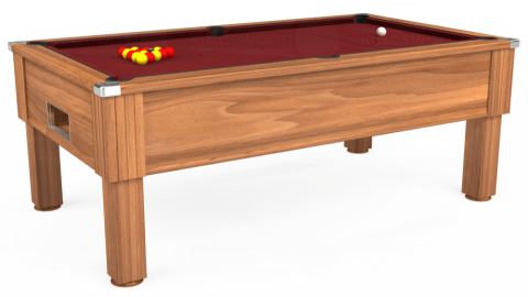 6ft Emirates Free Play in Light Walnut with Hainsworth Elite-Pro Burgundy cloth