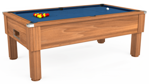 7ft Emirates Free Play in Light Walnut with Hainsworth Elite-Pro Cadet Blue cloth