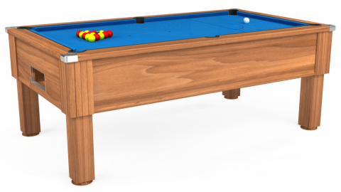 7ft Emirates Free Play in Light Walnut with Hainsworth Elite-Pro Electric Blue cloth