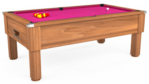 7ft Emirates Free Play in Light Walnut with Hainsworth Elite-Pro Fuchsia cloth