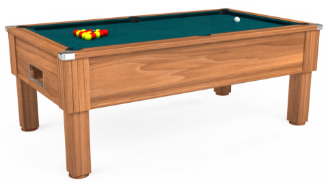 7ft Emirates Free Play in Light Walnut with Hainsworth Elite-Pro Petrol Blue cloth