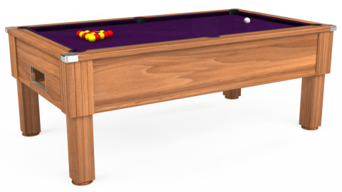 7ft Emirates Free Play in Light Walnut with Hainsworth Elite-Pro Purple cloth