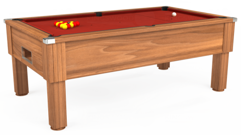 7ft Emirates Free Play in Light Walnut with Hainsworth Elite-Pro Red cloth