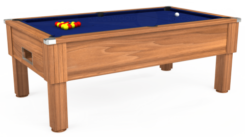 7ft Emirates Free Play in Light Walnut with Hainsworth Elite-Pro Royal Blue cloth