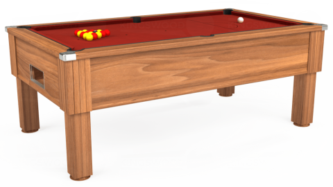 7ft Emirates Free Play in Light Walnut with Hainsworth Smart Cherry cloth
