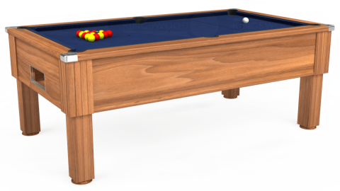 7ft Emirates Free Play in Light Walnut with Hainsworth Smart Navy cloth