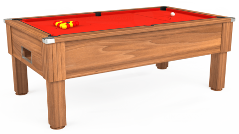 7ft Emirates Free Play in Light Walnut with Hainsworth Smart Orange cloth