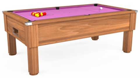 7ft Emirates Free Play in Light Walnut with Hainsworth Smart Pink cloth