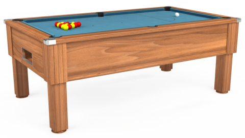 7ft Emirates Free Play in Light Walnut with Hainsworth Smart Powder Blue cloth