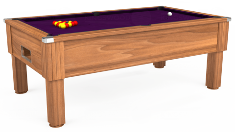 7ft Emirates Free Play in Light Walnut with Hainsworth Smart Purple cloth