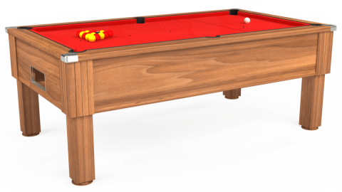 7ft Emirates Free Play in Light Walnut with Hainsworth Smart Red cloth
