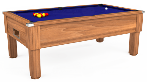 7ft Emirates Free Play in Light Walnut with Hainsworth Smart Royal Blue cloth