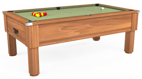 7ft Emirates Free Play in Light Walnut with Hainsworth Smart Sage cloth