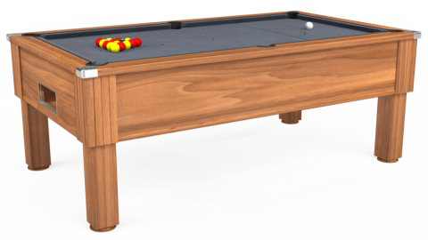 7ft Emirates Free Play in Light Walnut with Hainsworth Smart Silver cloth