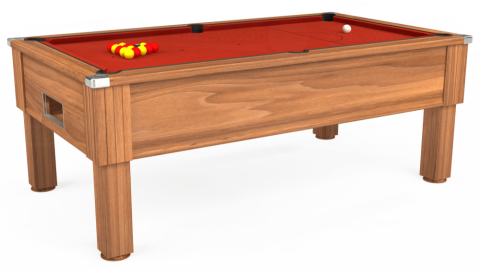 7ft Emirates Free Play in Light Walnut with Hainsworth Smart Windsor Red cloth