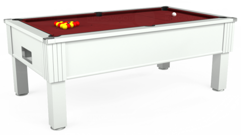 6ft Emirates Free Play in White with Hainsworth Elite-Pro Burgundy cloth