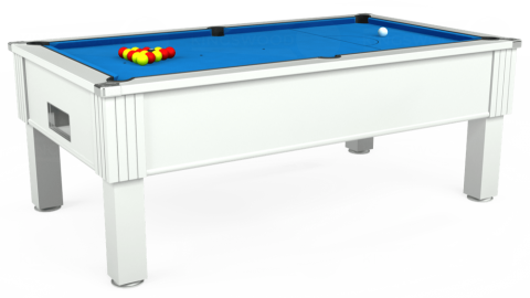 7ft Emirates Free Play in White with Hainsworth Elite-Pro Electric Blue cloth