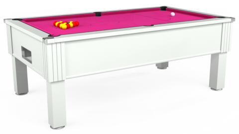 7ft Emirates Free Play in White with Hainsworth Elite-Pro Fuchsia cloth