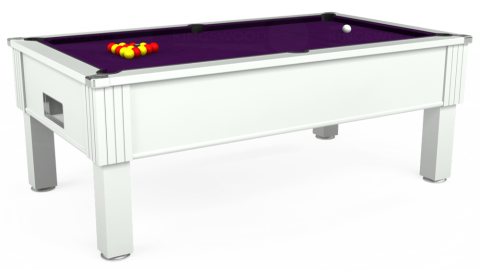 7ft Emirates Free Play in White with Hainsworth Elite-Pro Purple cloth