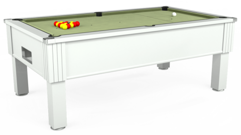 7ft Emirates Free Play in White with Hainsworth Smart Sage cloth
