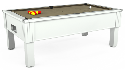 7ft Emirates Free Play in White with Hainsworth Smart Taupe cloth