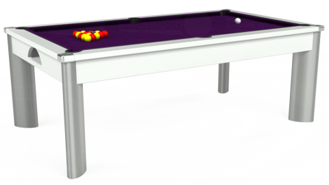 7ft Fusion Dining in White with Hainsworth Elite-Pro Purple cloth