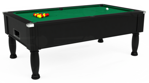 7ft Monarch Free Play in Black with Hainsworth Elite-Pro American Green cloth