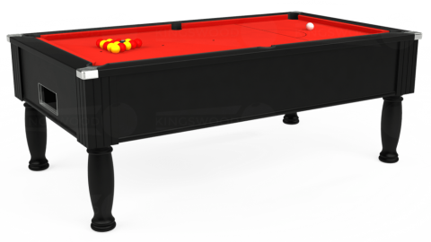 7ft Monarch Free Play in Black with Hainsworth Elite-Pro Bright Red cloth