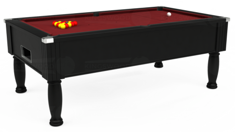 6ft Monarch Free Play in Black with Hainsworth Elite-Pro Burgundy cloth