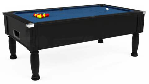 7ft Monarch Free Play in Black with Hainsworth Elite-Pro Cadet Blue cloth