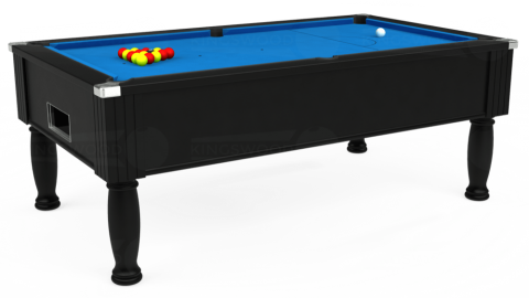 7ft Monarch Free Play in Black with Hainsworth Elite-Pro Electric Blue cloth