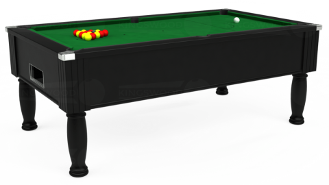 7ft Monarch Free Play in Black with Hainsworth Elite-Pro English Green cloth