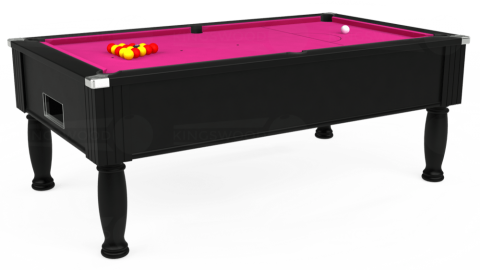 7ft Monarch Free Play in Black with Hainsworth Elite-Pro Fuchsia cloth