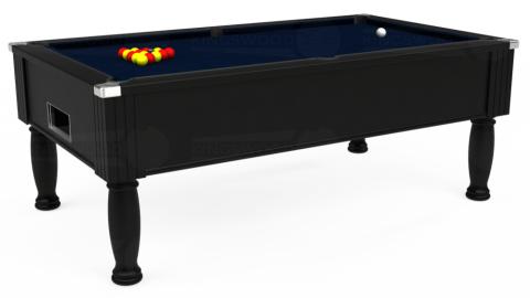 7ft Monarch Free Play in Black with Hainsworth Smart French Navy cloth