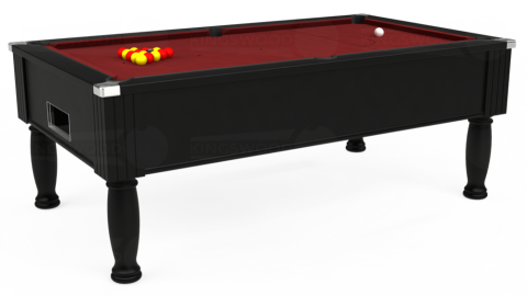 7ft Monarch Free Play in Black with Hainsworth Smart Maroon cloth
