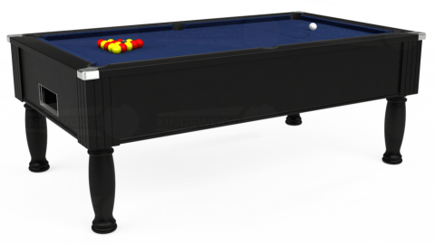 7ft Monarch Free Play in Black with Hainsworth Smart Navy cloth